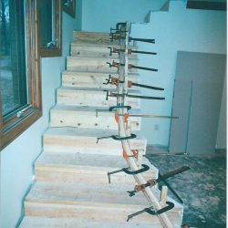 Custom wood stairs being built by Bailey Custom Woodworking.