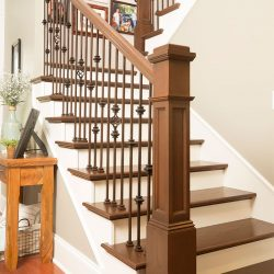 Modern wood stairs by Bailey Custom Woodworking in Springfield, IL.