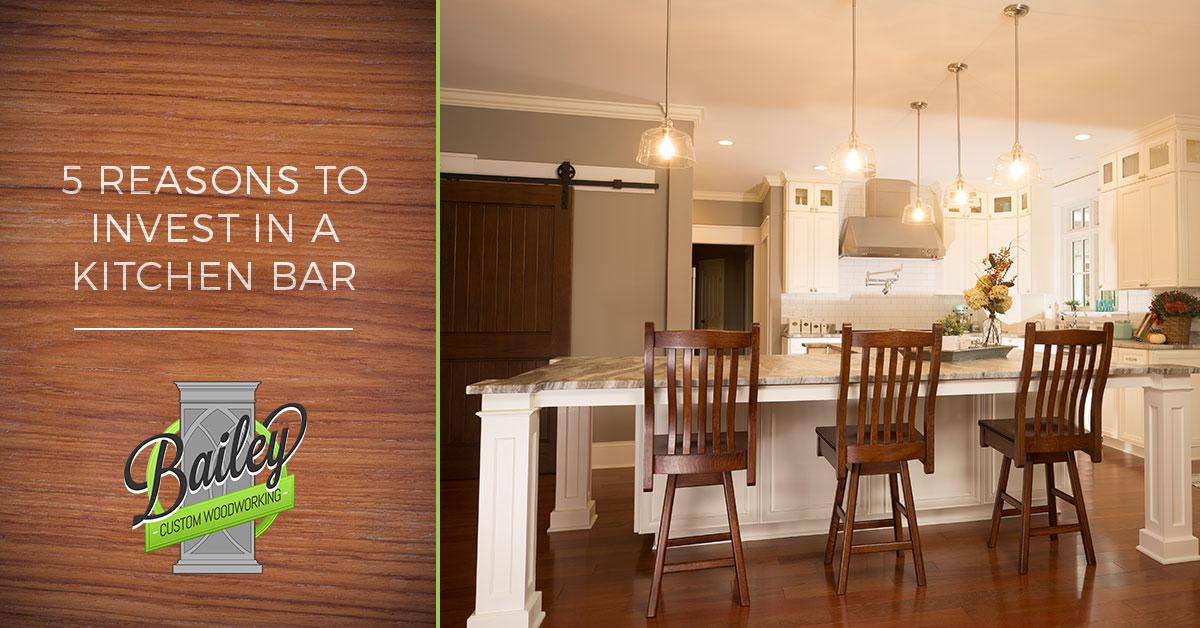 Custom bar and kitchen island by Bailey Custom Woodworking.