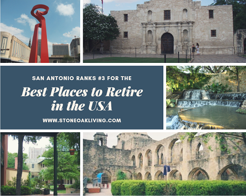 "US News and World Report released their ""Best Places to Retire in the USA"" list recently. San Antonio ranked #3 out of 100 large metropolitan areas in the United States, making it the top Texas city on the list. Its lower cost of living, low unemployment and great quality of life propelled it towards the top of the list."
