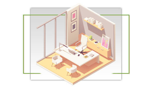 Illustrated image of a small office