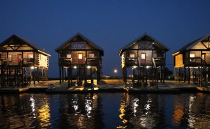 Bayou Log Cabins On Lake Hermitage Bayou Late In The Evening