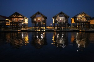 Our Log Cabins At Night