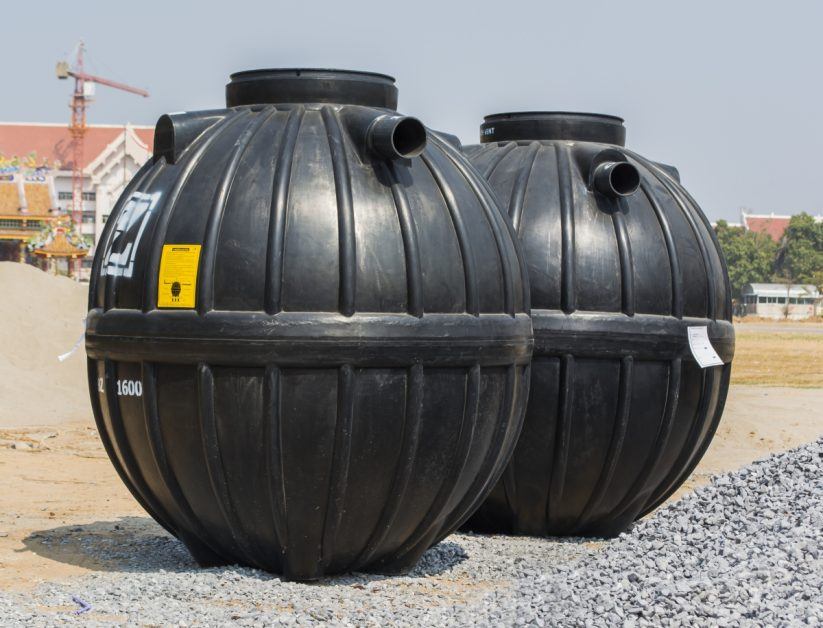 Round, Black Septic Tanks
