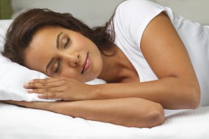 Woman sleeping on side
