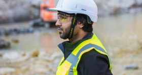 Image of a construction worker in a hard hat during a health and safety audit.