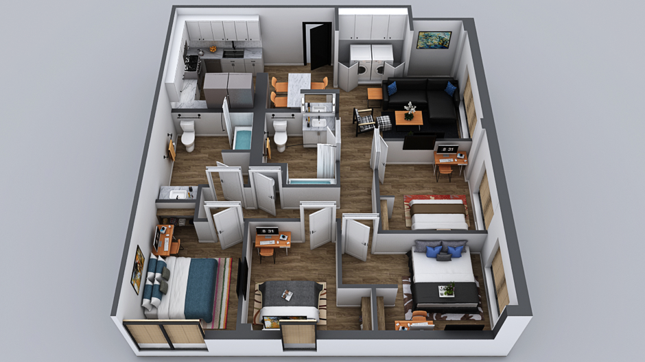 hotel pre-construction marketing 3d floorplan