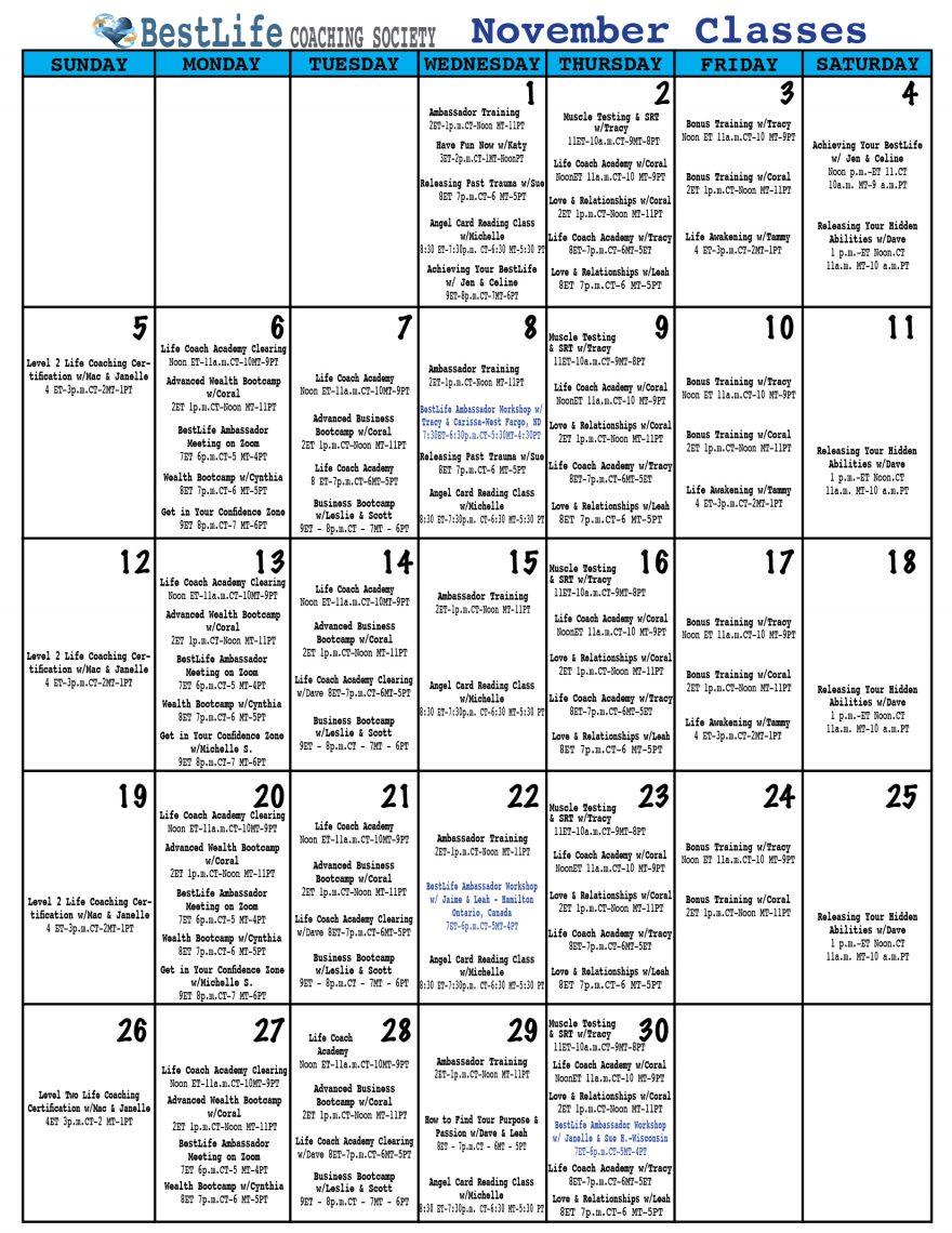 Life Coaching Calendar