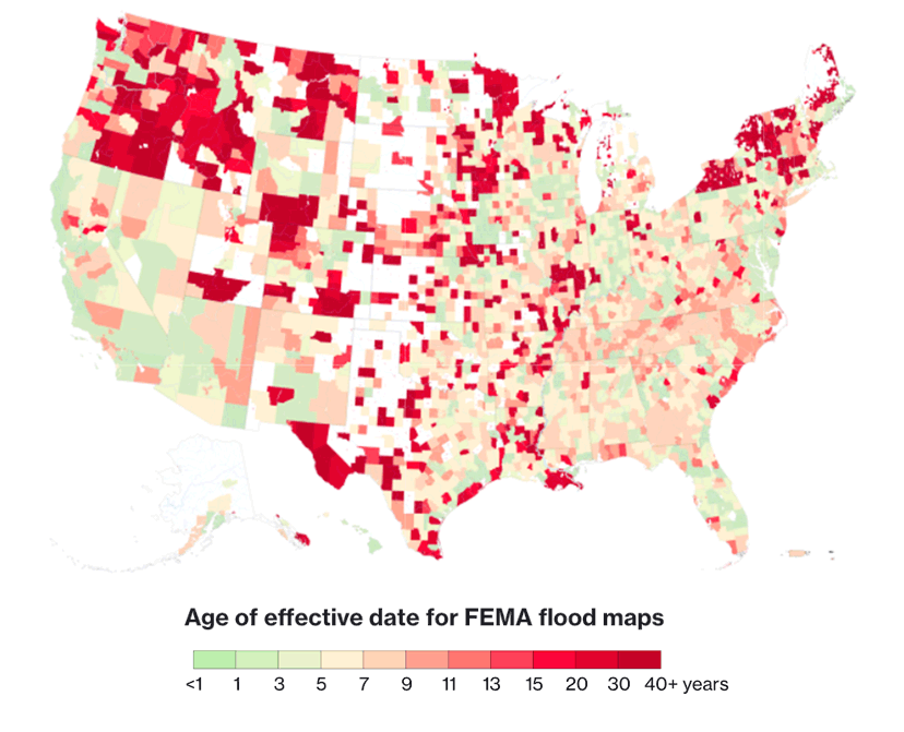 Flood Insurance rate maps can be as old as 40 years out of date