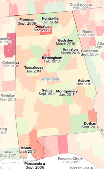 Alabama flood map
