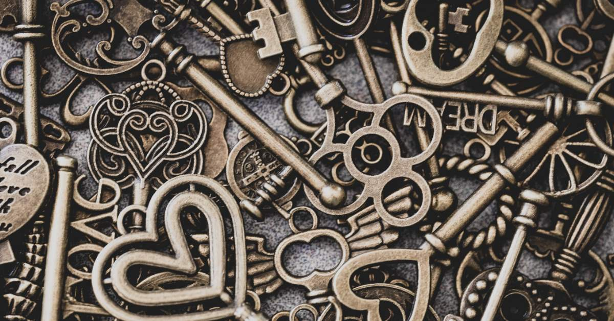 A collection of artistic, intricate keys.