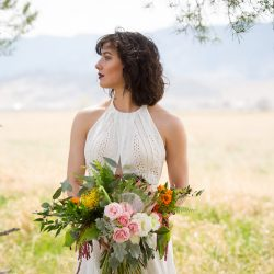 A Gorgeous Bride With Her Bouquet