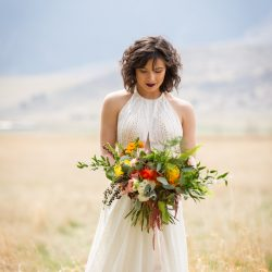 An Outdoor Bride With Her Bliss Bouquet