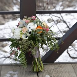 A Bouquet on A Bridge in The Winter