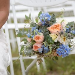 A heavy textured Colorado bridal bouquet.