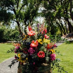 Stunning barrel top arrangement for a Colorado wedding!