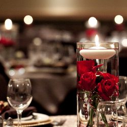 Roses and Floating Candles Centerpieces