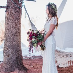 A Beautiful Bride And Her Flower Bouquet