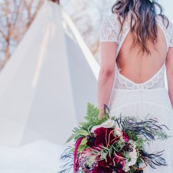 A winter bride and her flowers.