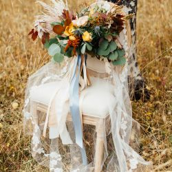 A Stunning Bliss Bridal Bouquet Outdoors