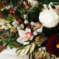 A closeup of a beautiful design by Bliss Wedding Florist.
