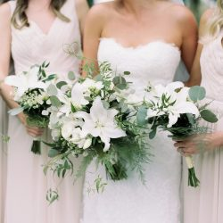 Bridal party and their bouquets.