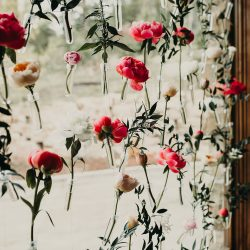 Hanging flower wall fort collins wedding florist.