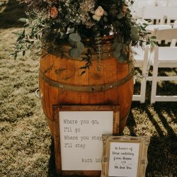 Barrel flowers for the big day.