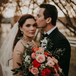 Beautiful bride, groom and those stunning flowers.