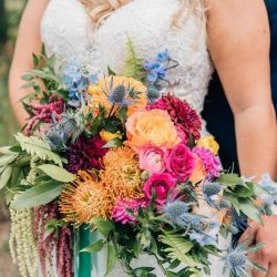 A vibrant Colorado bridal bouquet.