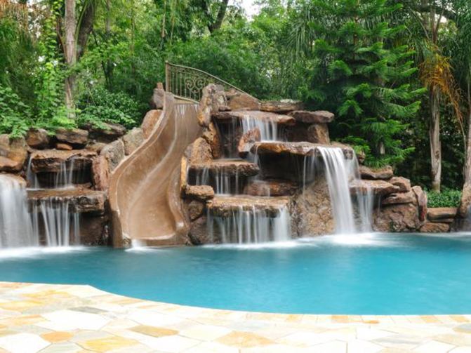 Amazing Swimming Pool With Big Slide And Waterfalls