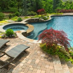 Curvy inground pool with beautiful patio.
