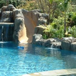 Pool with amazing slide and hardscape.
