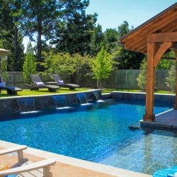 Geometric pool with gazebo.