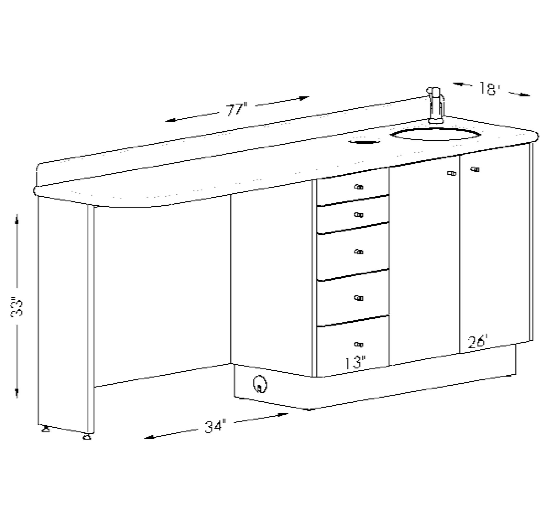 Doctoru0027s Side Cabinet With Toe Sink