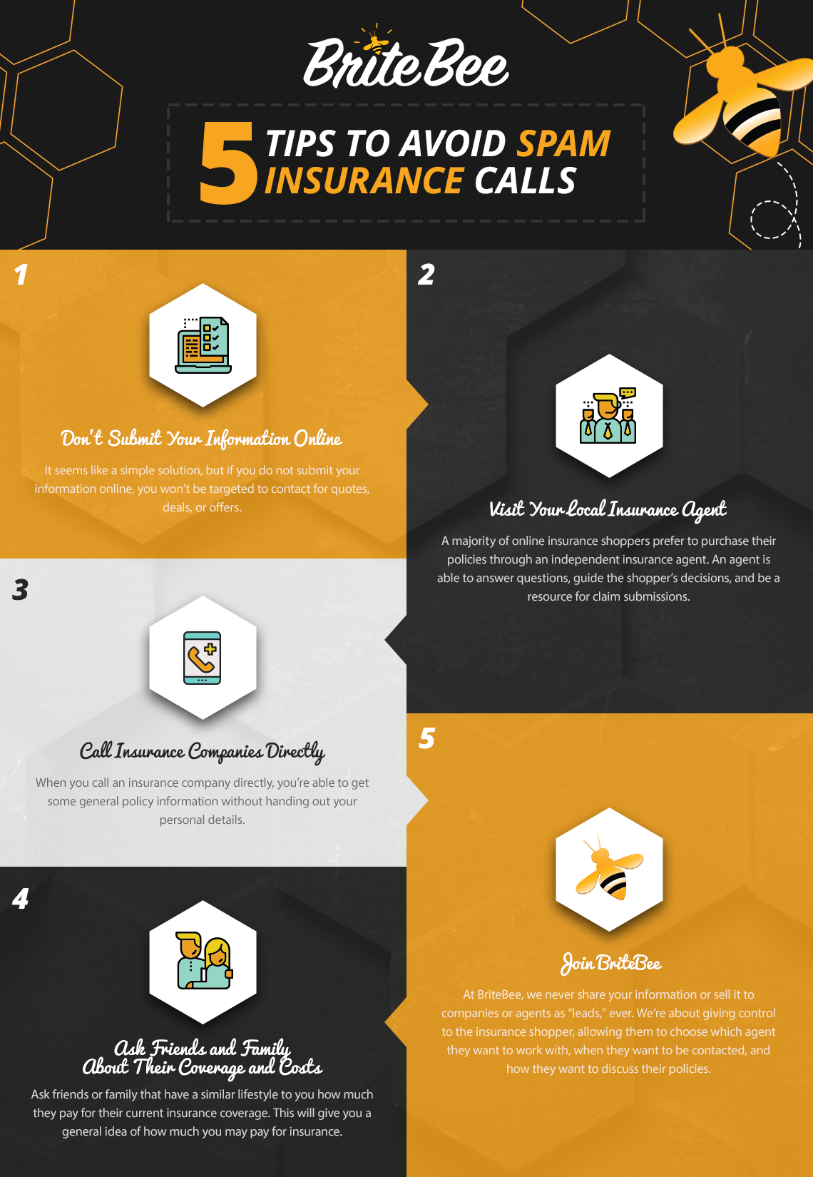 5 tips to avoid spam calls infographic