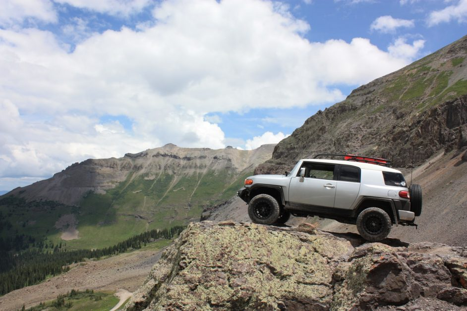 Vehicle on a hill in the mountains