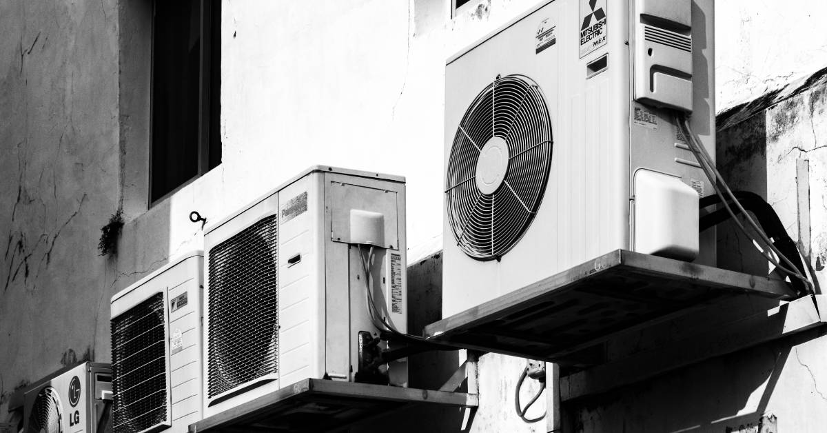 black and white photo of air conditioing unit