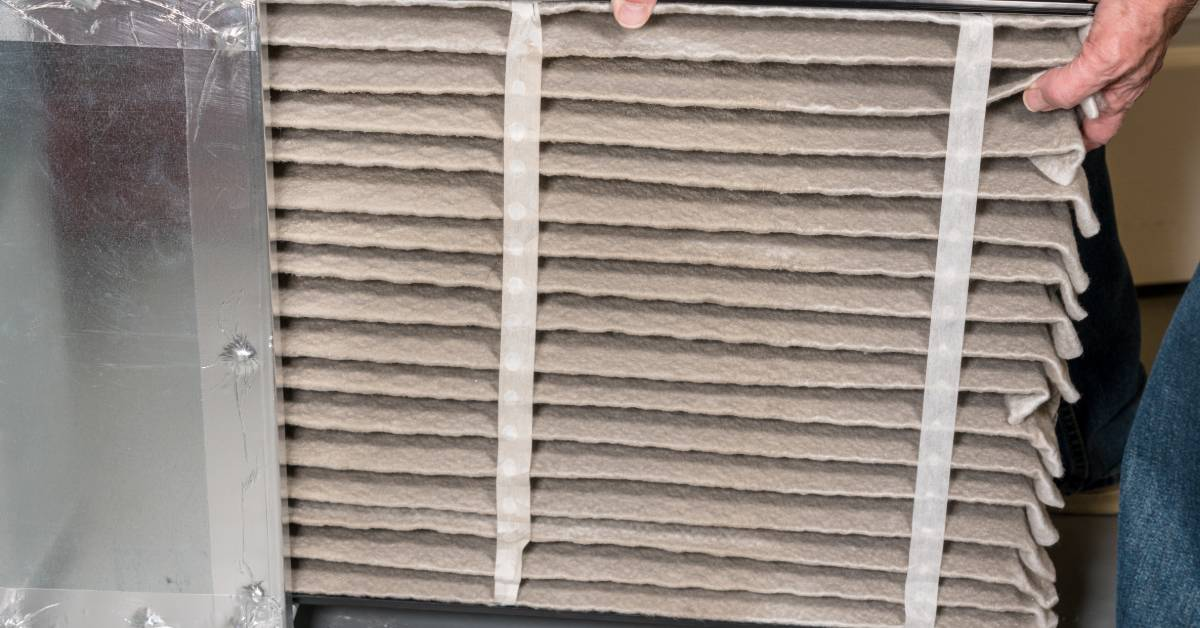 An image of a dirty AC filter.