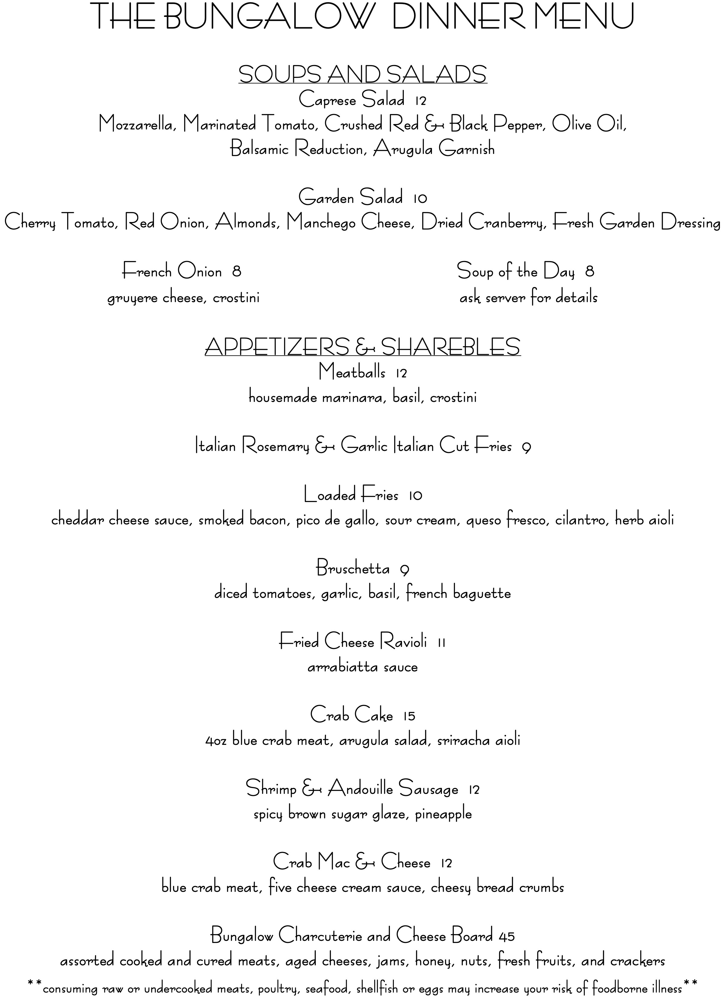 Bungalow Retreat - Dinner Menu 01