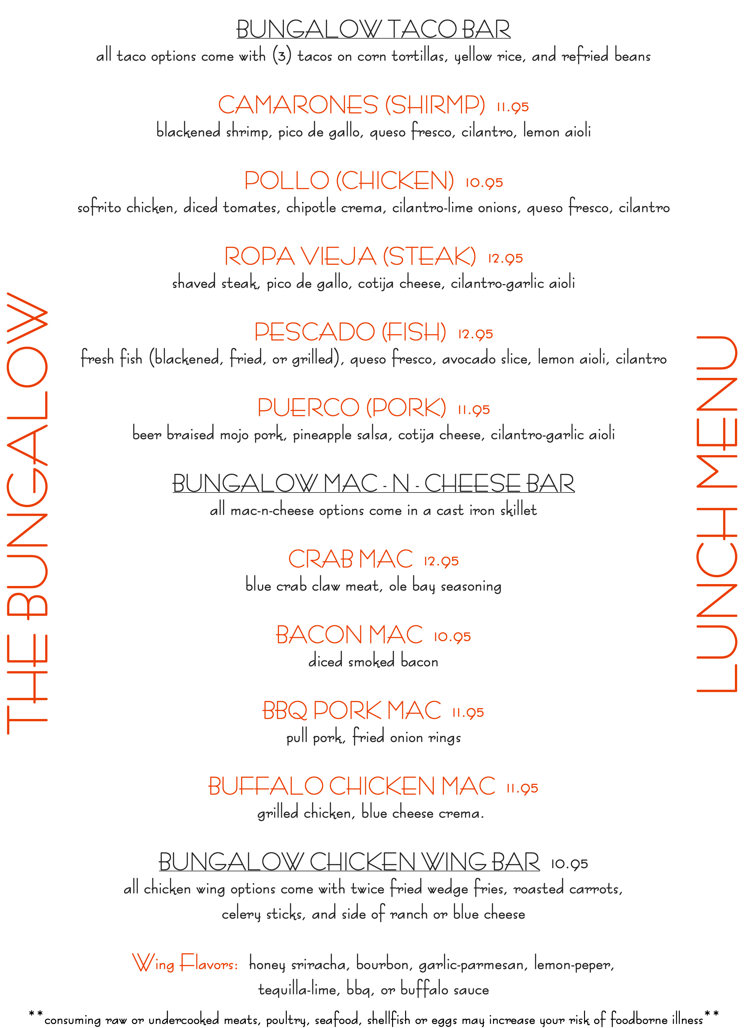 Bungalow Retreat - Lunch Menu - TACO - MAC - WINGS