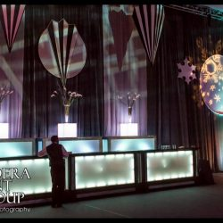 Event lighting and event decorations for a holiday party