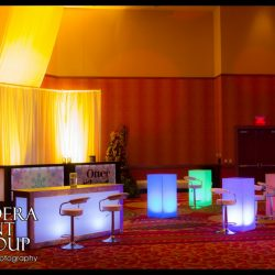 Event lighting for Otter Box with event decorations like light up tables