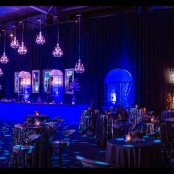 Custom event lighting with blue and pink lights