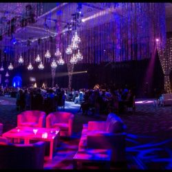 Custom event lighting with blue, purple, and pink lights