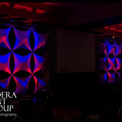 Custom stage lighting with red and blue lights