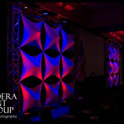 Stage lighting using red and blue lights
