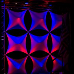 Event stage lighting with red and blue effects
