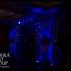 Blue stage lighting and effects for an event