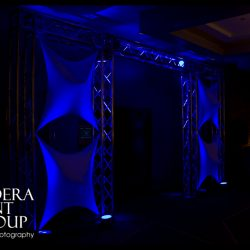 Stage lighting and effects for an event
